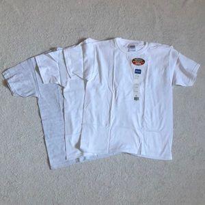 NWT 3 Gildan Cotton T-Shirts: 2 white, 1 grey